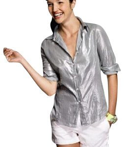 J.Crew Button Down Shirt Metallic Silver