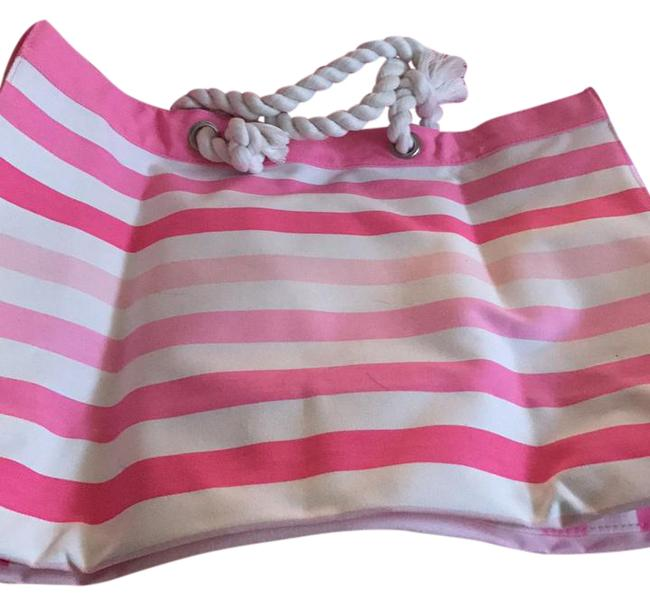 Item - Tote Pink/White Canvas Beach Bag