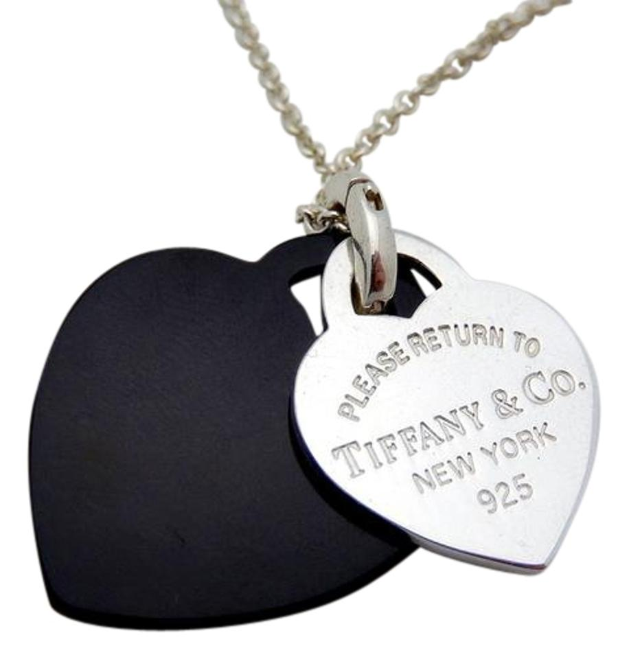 6e6c221f3d88b Tiffany & Co. Black Return To Silver Onyx Double Heart Pendant Necklace 38%  off retail
