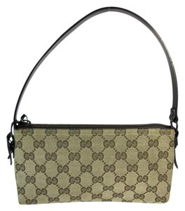 Gucci Leather Gg Beige Evening Brown Tote