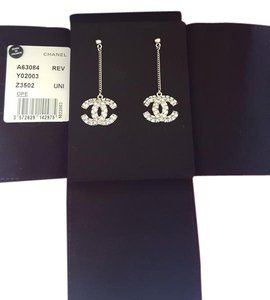 Chanel New Authentic Cc Silver Crystal Large Dangle Drop Earrings
