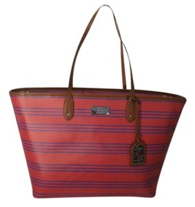 Ralph Lauren Canvas Red Tote in Red/ Blue