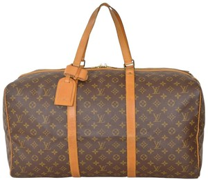 Louis Vuitton Sac Souple Monogram Keepall Duffle Carry On Brown Travel Bag