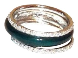 Other Sterling Silver Three Piece Green Enamel Stack Ring Set - New