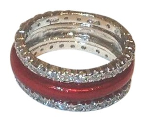 Other Sterling Silver Three Piece Red Enamel Stack Ring Set - New