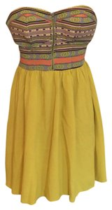 Xhilaration short dress mustard yellow/multi on Tradesy