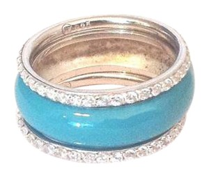 Other Sterling Silver Three Piece Turquoise Enamel Stack Ring Set - New