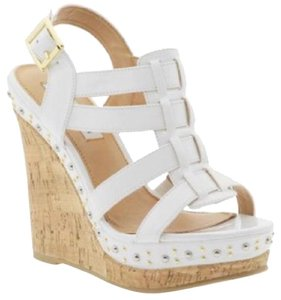 Steve Madden Studded Patent Leather Strappy Patent White Wedges