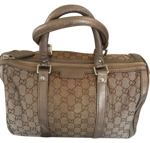 Gucci Boston Canvas Leather Satchel in Brown