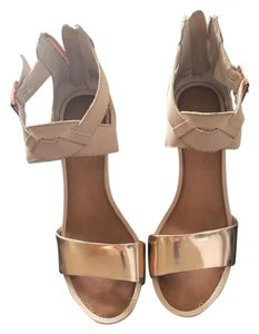 Seychelles Rose Gold Ankle Strap Nude Wedges