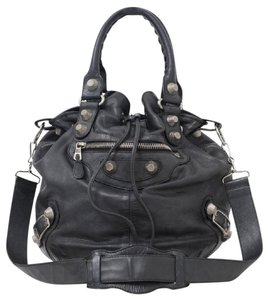 Balenciaga Leather Giant Pompon Bucket Shoulder Bag