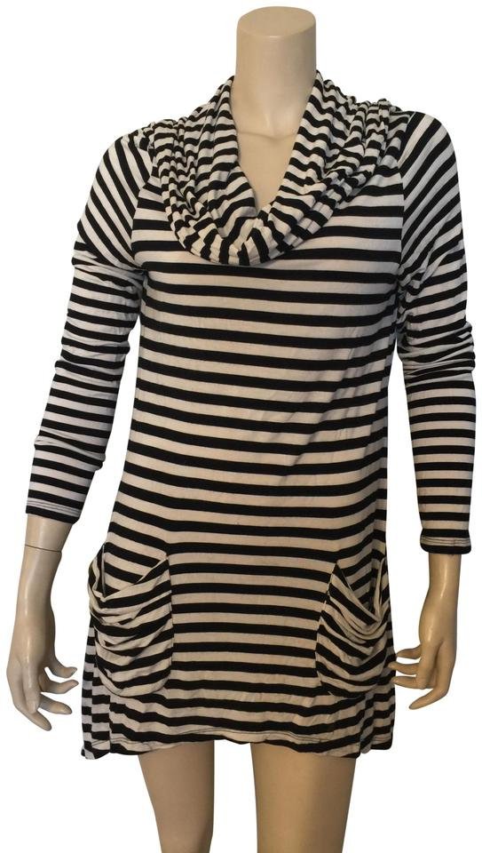 7ac7549ef19 Saks Fifth Avenue Black and White Striped Tunic Size 10 (M) - Tradesy