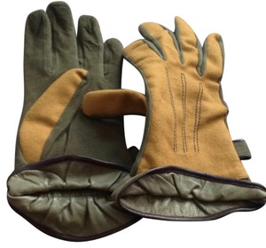 Moschino Town & Country Chamois Khaki Gloves
