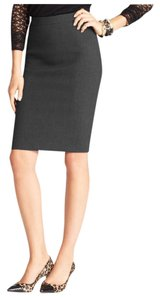 Ann Taylor Pencil Lace Back Pleat Skirt Charcoal