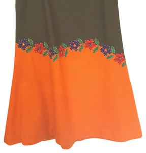Moschino Maxi Skirt Olive and orange