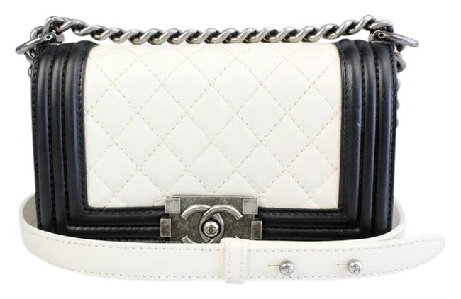Item - Boy Small Black and Ivory Lambskin Leather Shoulder Bag