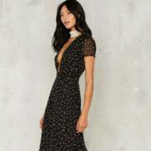 Black w/mini white stars Maxi Dress by Nasty Gal