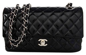 Chanel Classic Quilted Front Flap Patent Leather Shoulder Bag