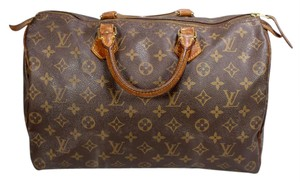 Louis Vuitton Monogram Canvas Speedy Ebene Azur Satchel in Brown