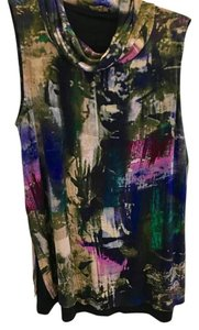 Cupio Cowl Neck Sleeveless Layer Print Water Top Multi Color