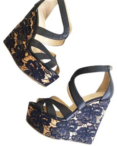 Jimmy Choo Perry Navy Nappa With Lace Cork Wedges size 36.5 Navy Wedges