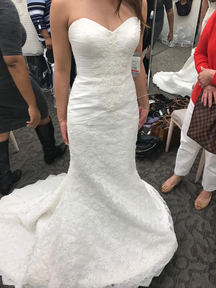 Oleg Cassini Ivory Tulle On Top Strapless Lace Trumpet Sexy