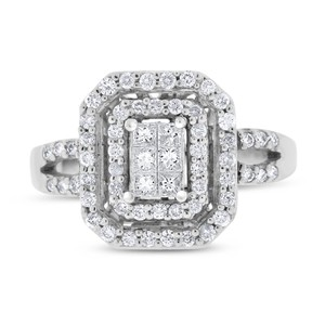 Other 0.75 Ct. Natural Diamond Rectangular Cocktail Ring In Solid 14k White
