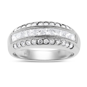 Other 0.72 Ct. Natural Diamond Princess & Round Cocktail Ring In Solid 14k