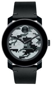 Movado NWT Movado Bold Camouflage Dial Black Rustic Leather watch