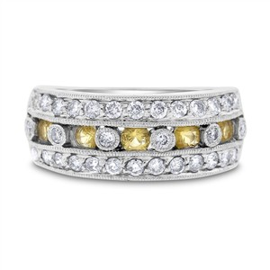Other 0.88 Ct. Natural Diamond & Yellow Topaz Fancy Band Ring Filigree 14k