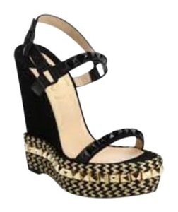 Christian Louboutin Cataclou Studded Ankle Strap black Wedges