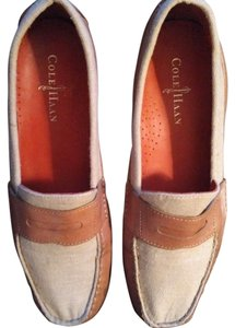 Cole Haan Linen Leather Casual Spring Tan and Cream Flats
