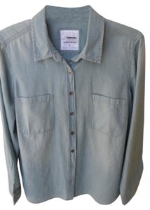 Sonoma Chambray Denim Shirt Size Large Button Down Shirt Blue