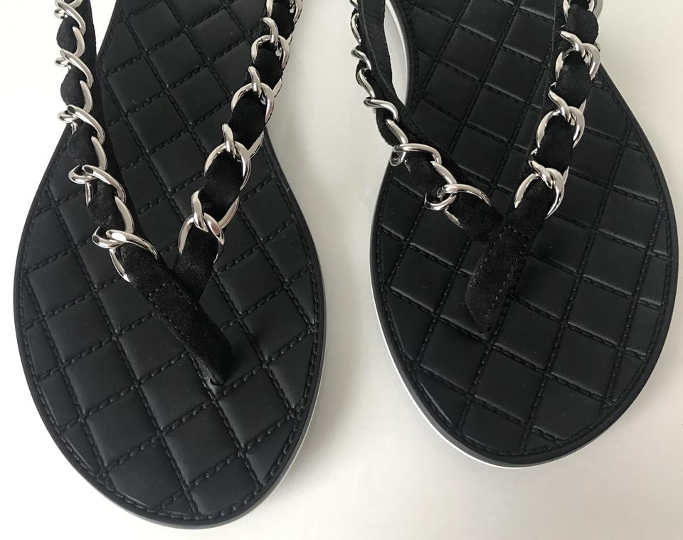 35072e87639e Chanel Black Classic Thongs Flip Flop Quilted Cc Charm Chain Suede ...