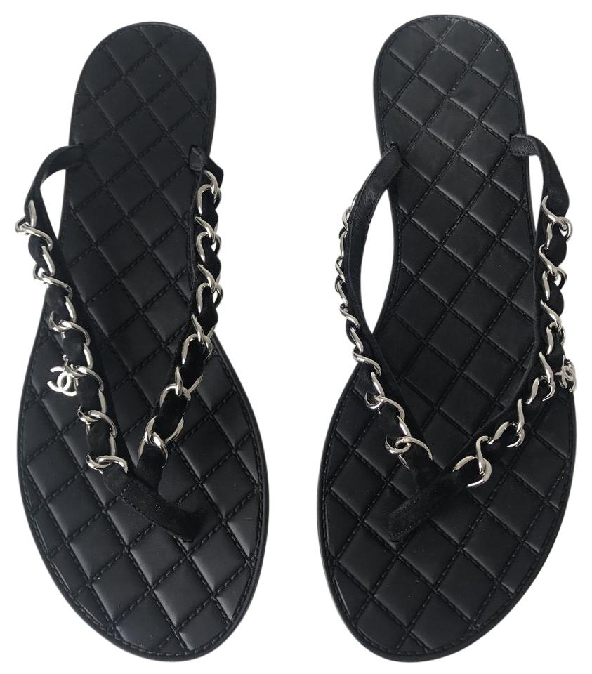 f84146fb00d54 Chanel Black Suede Chain Quilted Flip Flop Sandals Size US 7.5 ...