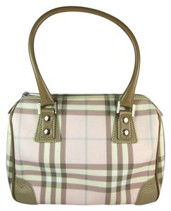 Burberry Leather Nova Beige Bowling Satchel in Pink House Check