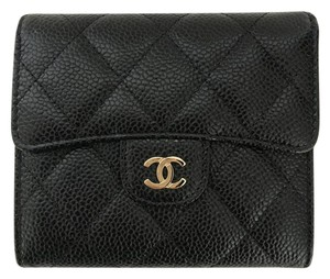 Chanel Chanel Compact Black Caviar Wallet with Gold Tone HW