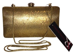 Sondra Roberts Hard Body Evening Cross Body Rhinestone Gold Metallic Mesh Clutch
