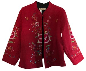 Norm Thompson Asian Inspired Embroidered Silk Blend Reversible Red Jacket Red Leather Jacket