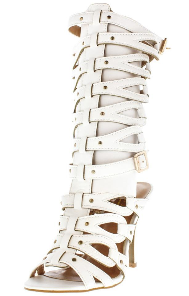 woman Caged White Caged woman Gladiator Heel Boots/Booties Discount 1998c4