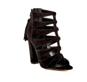 Marc Fisher Leather Suede Tassels Gladiator Open Toe Black Suede Sandals