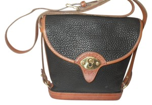 Dooney & Bourke Vintage Messenger Black and Caramel leather trim Messenger Bag