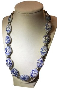 Anna's Art Japanese Hand Painted Beads Silver Necklace