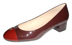 Chanel Two Tone Patent Leather Burgundy Pumps