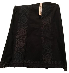 Ann Taylor LOFT Nwt A-line Skirt Black with lace & Embrodery