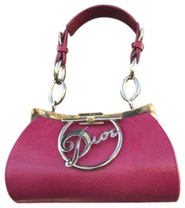 Dior Christian Handbags Leather Logo Tote in Fuschia