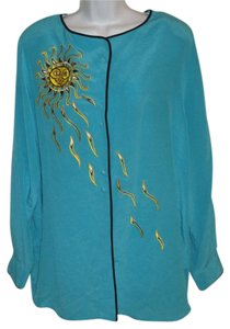 Bob Mackie Silk Sun Top Blue