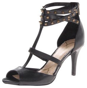 Jessica Simpson Spike Sexy Mid Heel T Strap Black Pumps