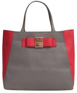 Ivanka Trump Faux Leather New/nwot Vegan Satchel Tote in Gray Red