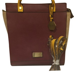 Hayden-Harnett Satchel in maroon gold and tan